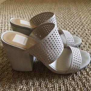 Blocked leather heels